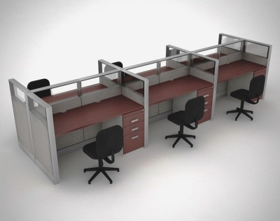 Ge 1 m dulo con vidrio para 6 usuarios synergy office pro for Muebles modulares para oficina